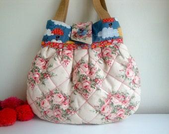 Floral   cotton Handbag - quilted handbag - handmade - gift - girls - women - Liberty trim - small handbag - cloud handbag - bird handbag
