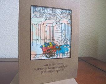 Lilacs in the Street -- ORIGINAL handmade note card, haiku card (#NCC028)