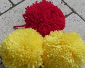 Yellow Red Pom Poms  Custom