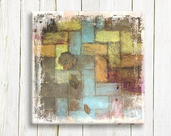 Earth tones Geometric abstract canvas art - Pastel colors on canvas - Wedding gift idea