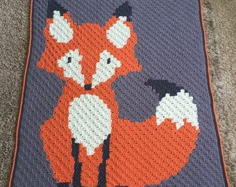 Crocheted Fox Baby Blanket