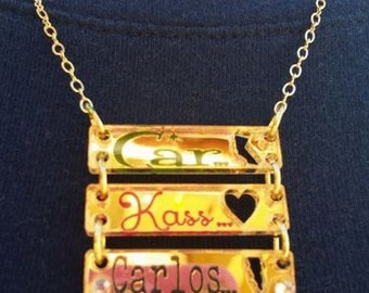 3 BARS NECKLACE Custom Laser Cut and Engraved Bar Necklace Mirror Acrylic
