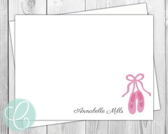 Ballerina Girls Stationery - Set of 12 - Ballet Slippers - Girls Flat Note Cards - Personalized Pink Thank You Cards - Birthday Party Kids