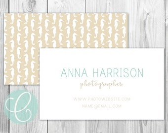 Business Cards / Calling Cards - Printable or Printed - Seahorses