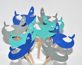 12 Shark Cupcake Toppers / Shark Birthday / Shark Invitation / Shark Party Decor / Shark Birthday Party / Shark Week / Girl Shark Party