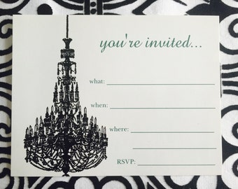 Classy Chandelier fill-in Invite Postcard/ Flat Card (6)