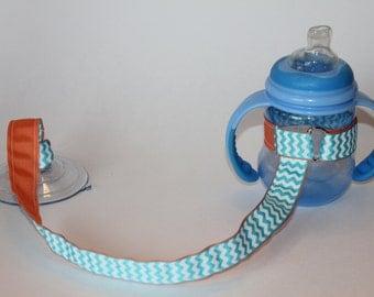Sippy Cup Leash | Sippy Strap | Sippy Cup Strap Suction Cup | Bottle Tether | Sippy Cup Strap | Suction Sippy Strap | Aqua Chevron Coral