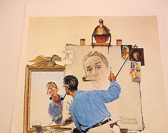 Vintage Norman Rockwell- Rockwell Self portrait PRINT - Saturday Evening Post - Printed in 1980
