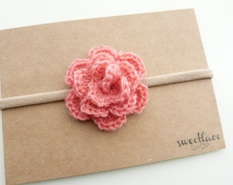 19 Colors--Rose headband--Crochet flower--nylon elastic headband--Baby girl Hair Accessories--Sweetlace Shop