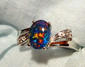 reserved for Quincey,,Opal Ring Ladies 14ct White Gold & Diamond 8x6 mm Oval Triplet item 90847.