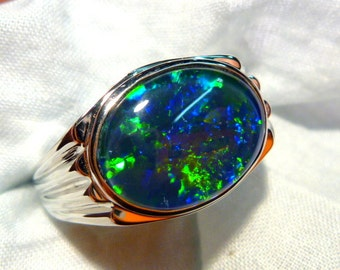 Mens Opal Ring Sterling Silver, Natural Opal Triplet. 16x12mm Oval. item 90620.