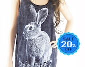 Rabbit Bunny Tank Top Rabbit Tshirt Graphic Tee Funny Tee Workout Tee Animal Style Rabbit Tank Top Bleach Black Tunic Screen Print size M