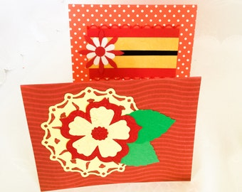 2 Handmade cards: Red and Yellow flowers - birthday cards - blank flower cards - Wcards