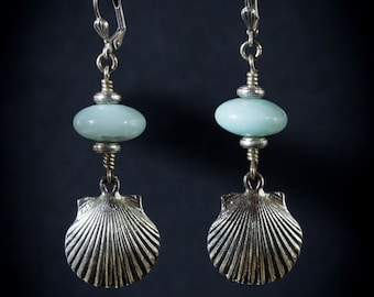Vintage Seashell Charms Amazonite Earrings