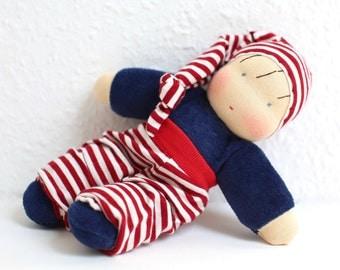 Bruno, little cosy waldorf inspired doll ,  cuddle doll, Babies first friend,