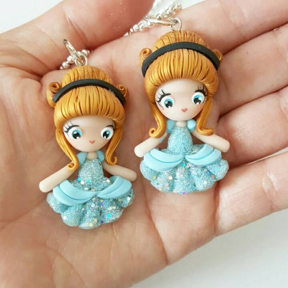 LIMITED EDITION Cinderella Necklace, Princess, Polymer Clay Pendant, Necklace, Cosplay, polymer clay, clay pendant, Kawaii, doll, charm