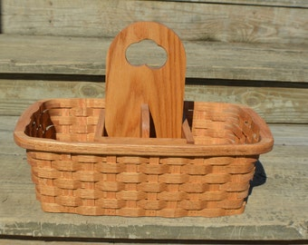 Picnic basket carrier tote Oak wood