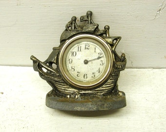 Vintage Figural Ship Clock Housing Shabby Project Piece Upcycle Cast Parts