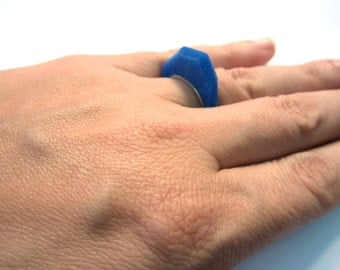 Blue statement ring, sterling silver stack ring, handmade plastic ring, edgy ring, modern geometric, purple and silver ring, facet ring