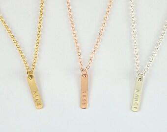 Name Bar Necklace, Personalized bar Necklace, Rose Gold bar, sterling silver bar,  Custom hand stamped bar, nameplate necklace, vertical bar