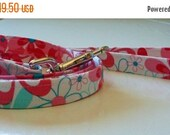 Sale 50% Off 1 Inch Dog Leash Other Sizes Available - Pink, Red and Turquoise Floral - Nearby Floral