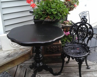 shabby chic black pedestal table