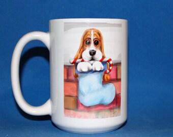 Basset Hound Tis The Season Christmas Mug, Dog Lover Gift, Dog Coffee Cup, Christmas Gift, Basset Hound gift
