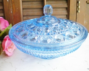Blue Glass Candy Dish With Lid In Blue Vintage Indiana ,Serving Bowl Starburst Bottom For Home Decor Wedding Tea Party Gift