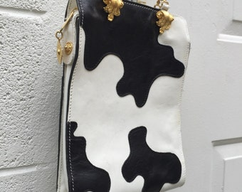 Cow Print Leather Clutch Gold Accents Gold Detachable Chain 90s Glam