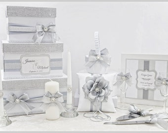 Wedding set - Wedding card box + guest book + pillow + serving set + wedding glasses + unity wedding candles - Silver