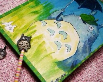 original painting Totoro fan art, handcrafted Totoro inspired sketchbook gift set