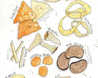 Chips Watercolor Print/ kitchen art food potato doritos funyuns kettle ruffle cheese portrait custom illustration drawing by Eliza George