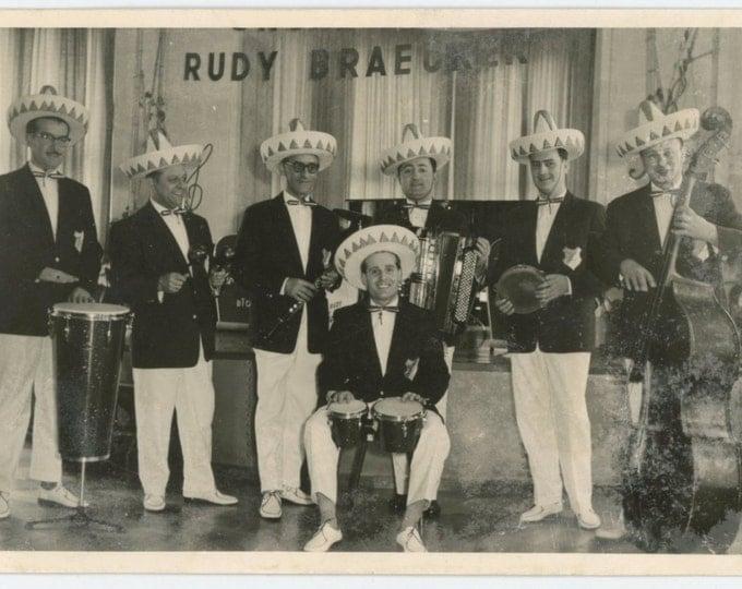 Rudy Braeurer German Mexican/Cuban Orchestra, Hamburg, 1950s Vintage Snapshot Photo (511435)