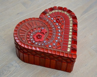 Red and gold glass mosaic heart shaped jewelry or trinket box