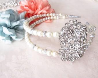 Pearl Bridal Headband / Rhinestone Bridal Headband / Crystal Headpiece