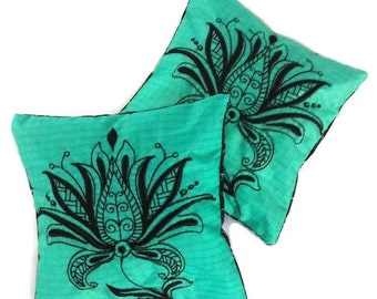 Balsam Sachets, Embroidered Floral Balsam Sachets, Christmas Sachets, Fall Sachet, Recycled Paraglider Sachets , Set of Two Handmade Sachets