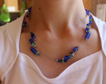 Blue Glass Beaded Multi-strand Necklace
