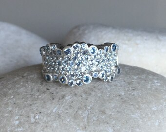 Unique Womens Wedding Band- Gemstone Statement Wavy Band- Wide Band Sterling Silver Ring- Bubble Crystal Ring- Unique Engagement Ring