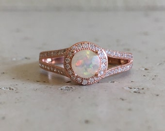 Halo Opal Engagement Ring- Rose Gold Engagement Ring- Fire Opal Promise Ring- Double Band Bridal Ring- Unique October Birthstone Ring