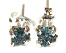 Blue Diamonds Raw Diamond Earrings Rough Diamond Studs Real Diamond Jewelry Tiny Earring Small Earring Natural Diamond Modern Jewelry Silver