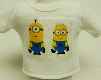 Minions Tom & Steve Theme Silver Glitter Transfer T-Shirt For 16 or 18 Inch Dolls Like The American Girl Or Bitty Baby