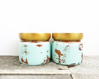 Painted Candle Holders - Boho Modern Decor - Mint and Gold - Upcycled Distressed