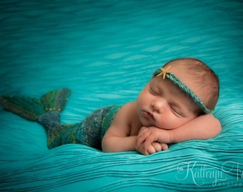 Newborn Mermaid Cocoon and Matching Headband Photo Prop, Made to Order