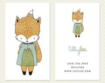 Fox Business Card Design. Foxy Weather Business Card Design. White Business Card. Cute Fox Character Calling Card. Kawaii Business Card
