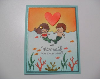 Handmade Anniversary/Love Card - Mermaid Card - We Mermaid for Each Other - BLANK Inside