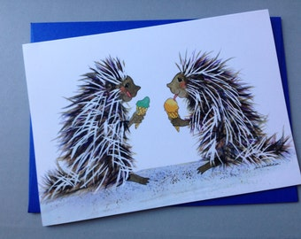 Porcupine Pals folded card