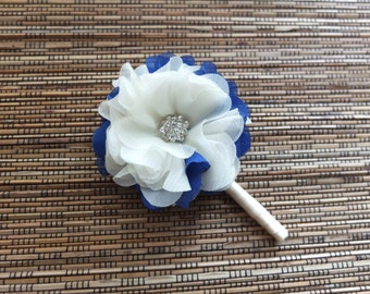 Boutonniere, Shabby Chic Chiffon Rose Boutonniere, Off White and Royal Blue Boutonniere