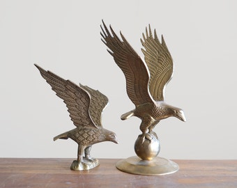 "Vintage 11"" Brass Bald Eagle"
