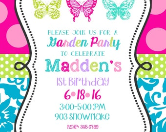12 Butterfly Birthday Party invitations with envelopes- garden party