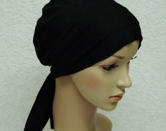 Black head wear, chemo hat, surgical cap, bad hair day head scarf, chemo head covering, tichel, head snood, short hair scarf